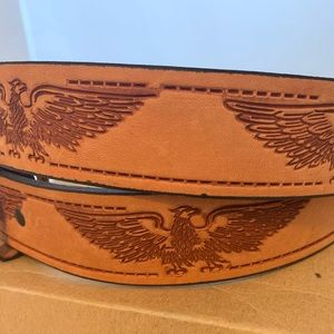 Other - Leather Belt w/ American eagle Design - Tan
